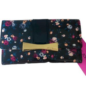 Betsey Johnson Faux Patent Floral Bow Wallet
